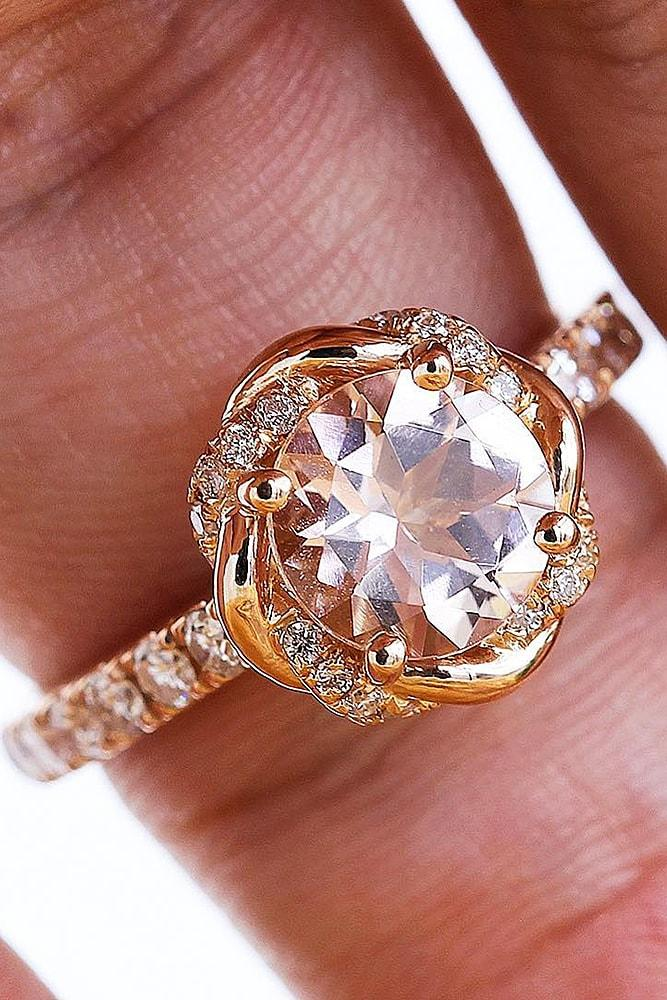 cheap engagement rings rose gold sparkling round cut morganite unique halo with pave band classic