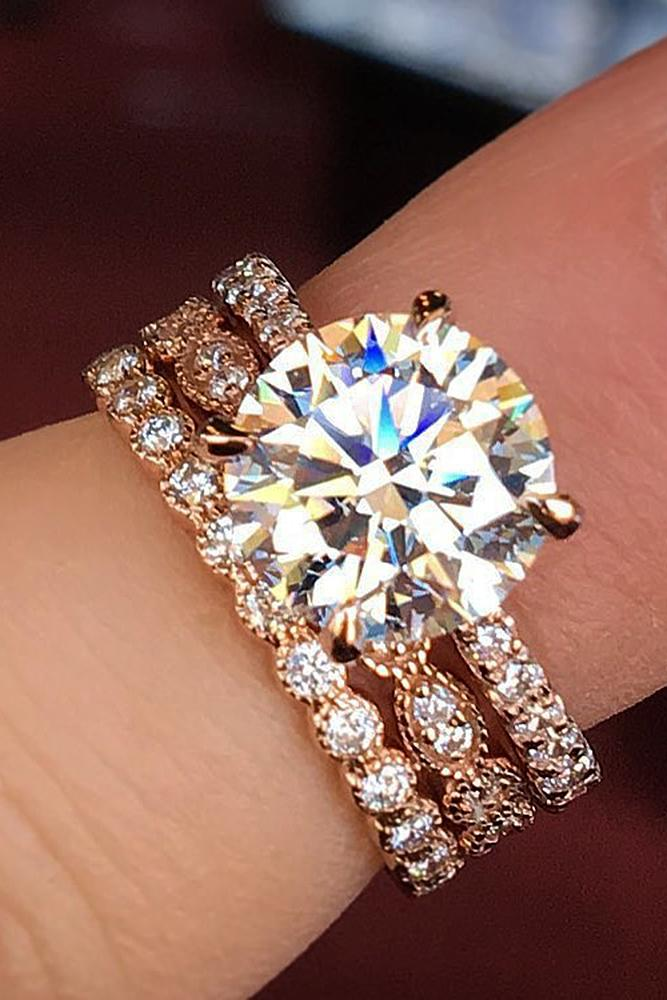 cheap engagement rings round cut solitaire wedding set pave band