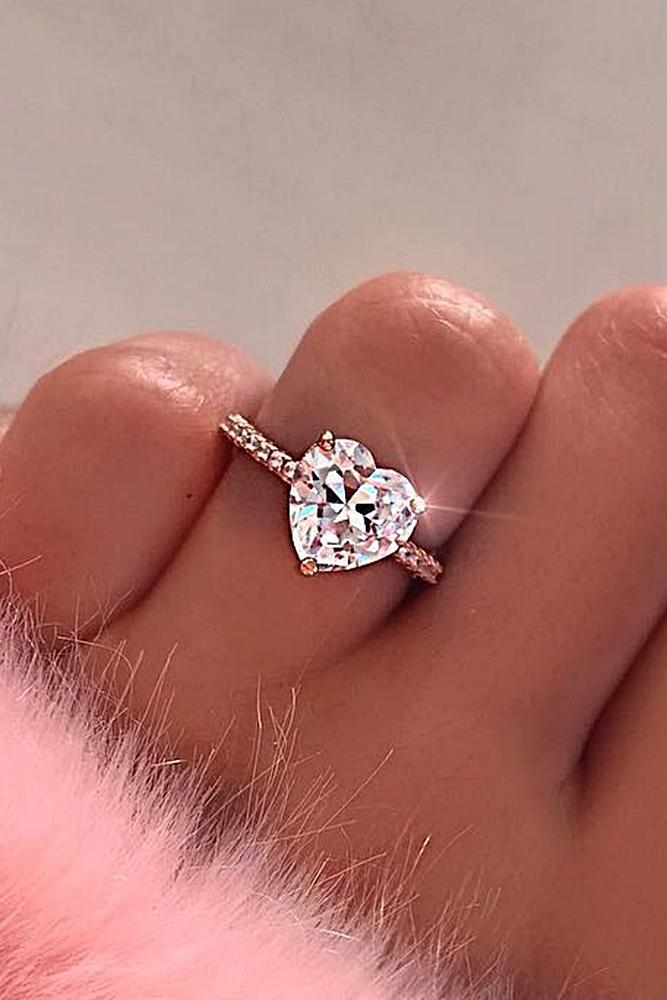 cheap engagement rings solitaire heart pave band silver