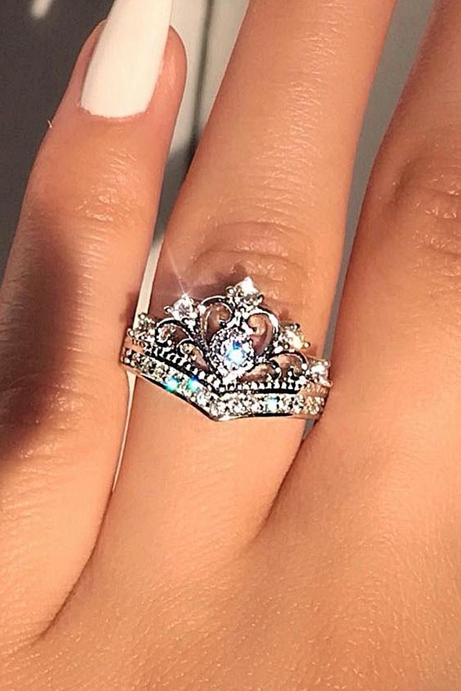 cheap engagement rings sparkling silver rings with unique design amazing diadem