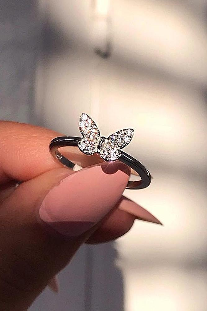 cheap engagement rings sparkling silver rings with unique design brilliant butterfly