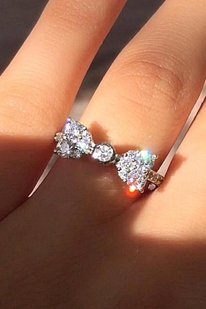 cheap engagement rings sparkling silver rings with unique design sparkling stones in bow