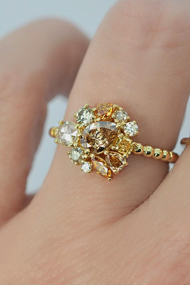 cheap engagement rings unique yellow pave band gold