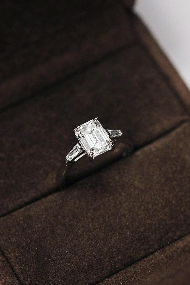 classic engagement rings diamond emerald cut white gold solitaire