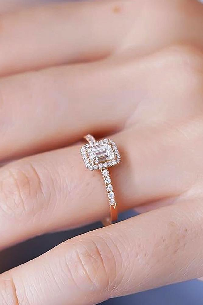 classic engagement rings halo emerald cut diamond