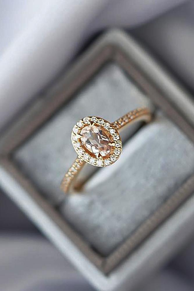 classic engagement rings oval cut halo rose gold