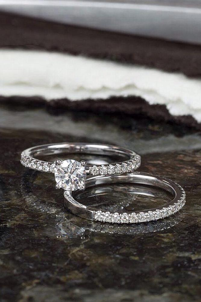 classic engagement rings pave band white gold wedding set