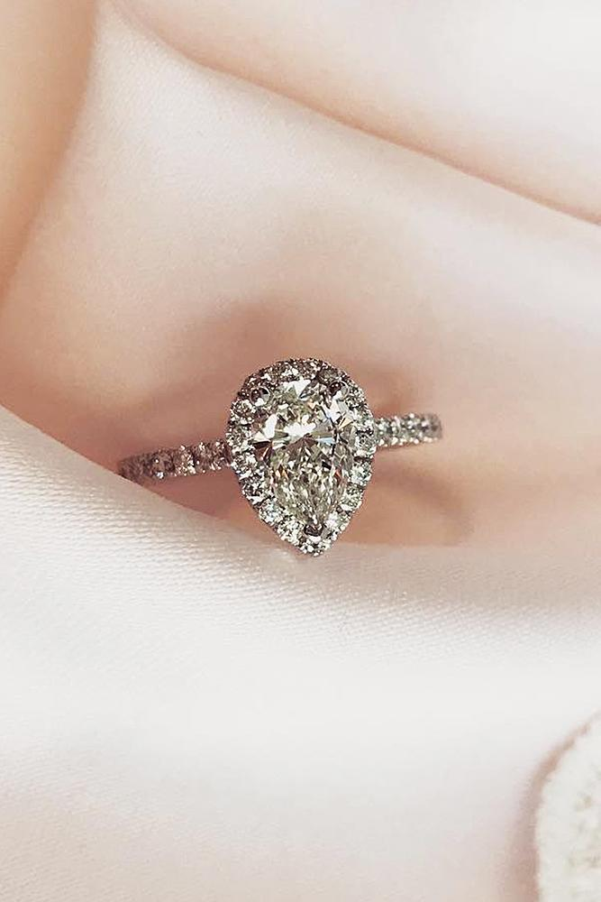 classic engagement rings pear cut halo diamonds pave band white gold