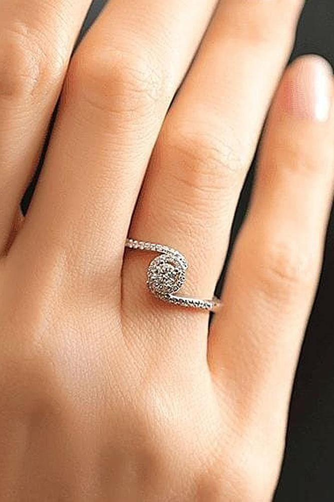 classic engagement rings round cut pave band unique