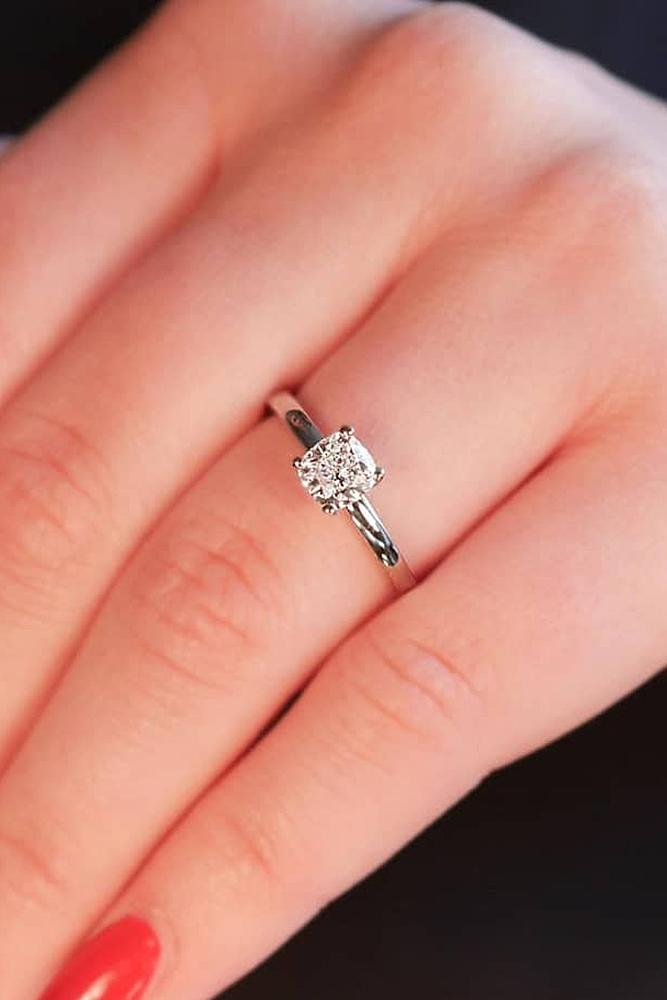 classic engagement rings solitaire cushion cut diamond white gold