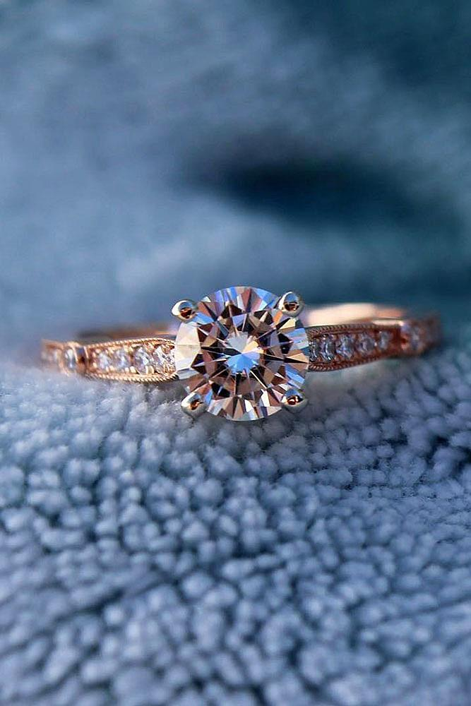 classic engagement rings solitaire diamond rose gold pave band