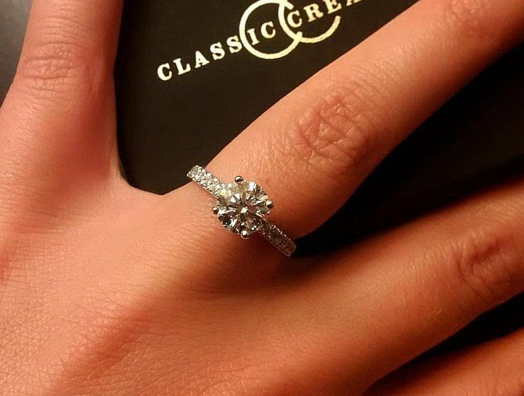 classic engagement rings solitaire pave band