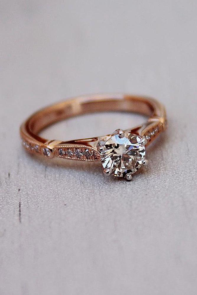 classic engagement rings solitaire round cut diamond rose gold