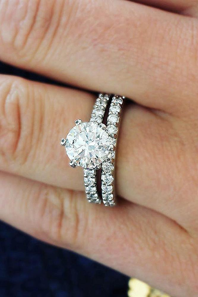 classic engagement rings wedding set pave band white gold