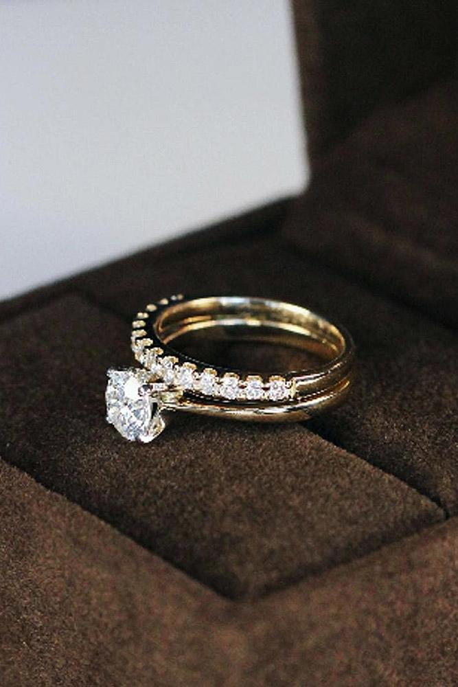 classic engagement rings wedding set simple yellow gold round cut