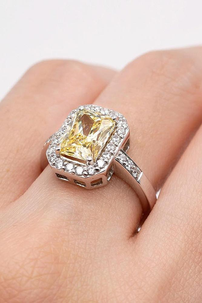 cubic zirconia engagement rings emerald cut gold halo modern