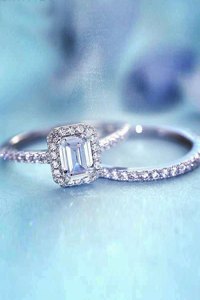 cubic zirconia engagement rings emerald cut halo pave band