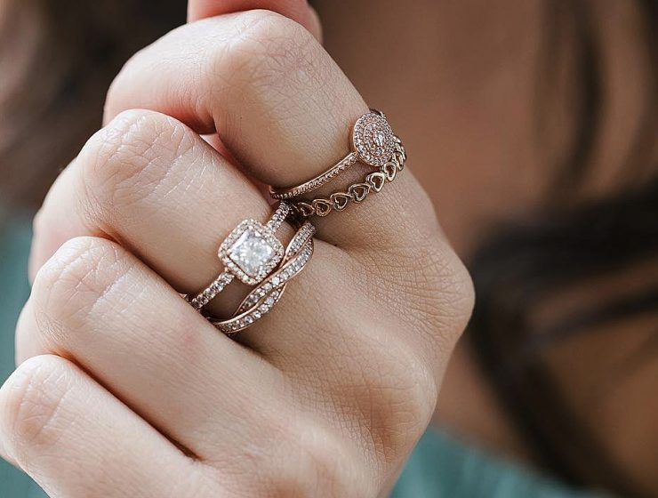 cubic zirconia engagement rings halo rose gold pave band