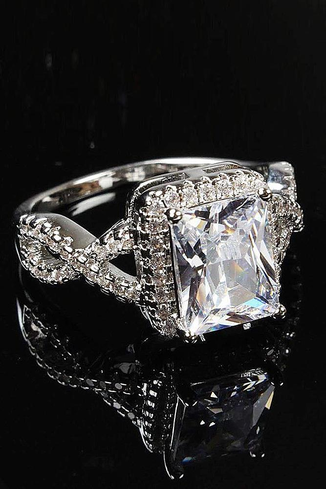 cubic zirconia engagement rings halo twist pave band princess cut