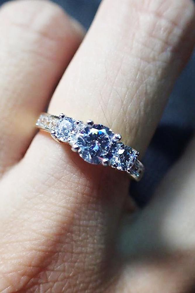 cubic zirconia engagement rings pave band three stones round cut