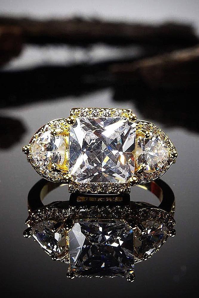 cubic zirconia engagement rings princess cut vintage halo
