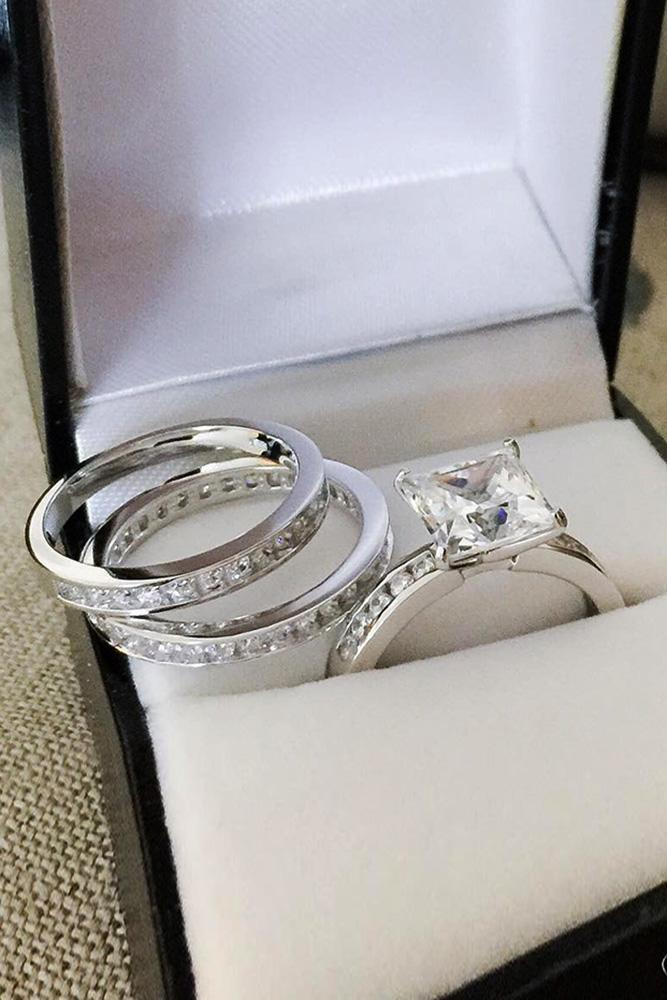 cubic zirconia engagement rings princess cut wedding set