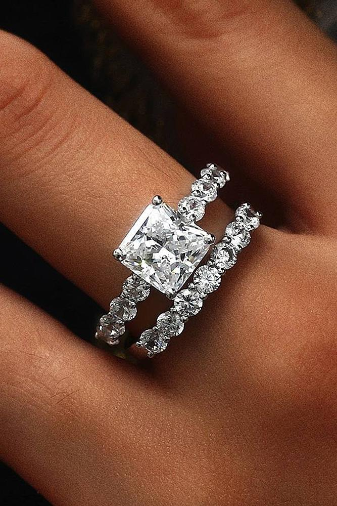 cubic zirconia engagement rings princess cut wedding set