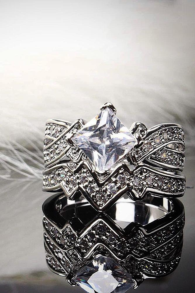cubic zirconia engagement rings princess cut wedding set vintage