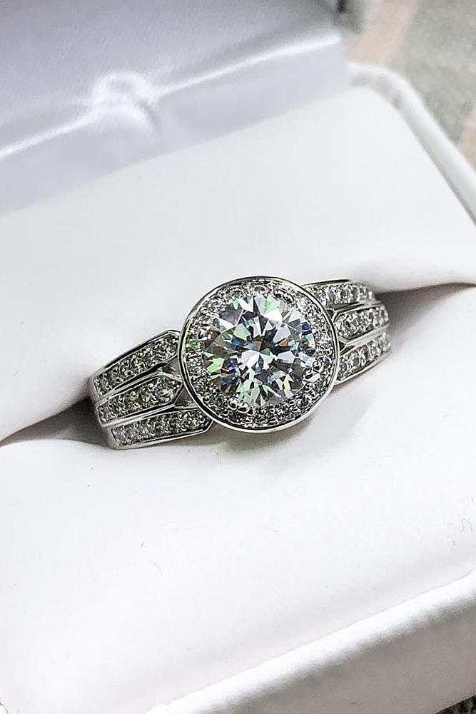 cubic zirconia engagement rings round cut halo split pave band