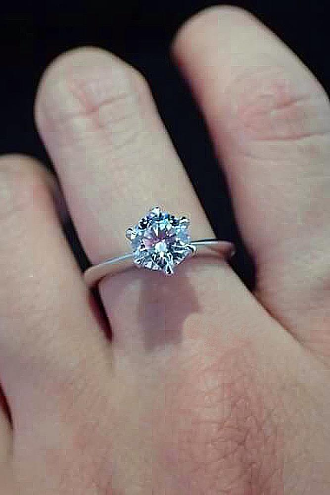 cubic zirconia engagement rings solitaire simple classic white gold