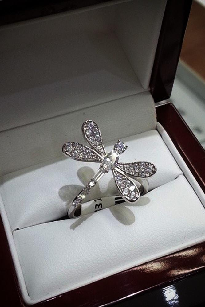 cubic zirconia engagement rings unique cubic zirconia rings white gold unique ring dragonfly simple pave band