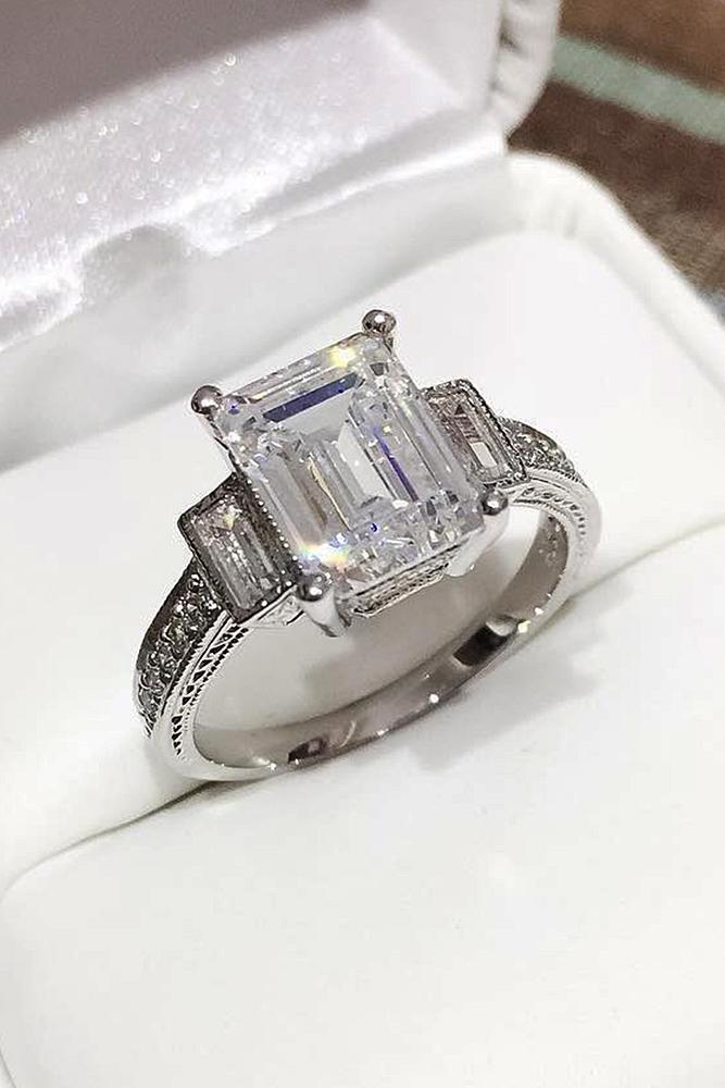 cubic zirconia engagement rings white gold emerald cut three stones modern