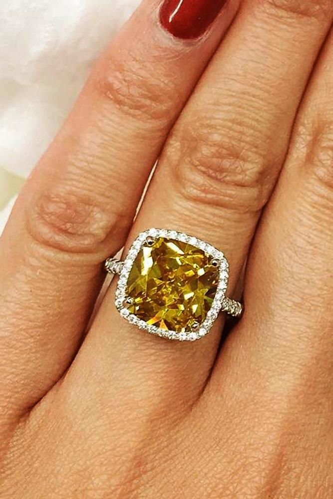 cubic zirconia engagement rings yellow cushion cut zirconia halo ring white gold pave band simple