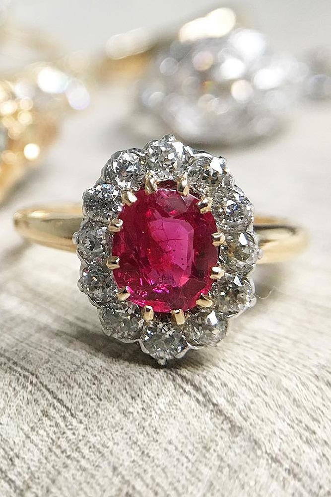 flower engagement rings floral oval cut ruby