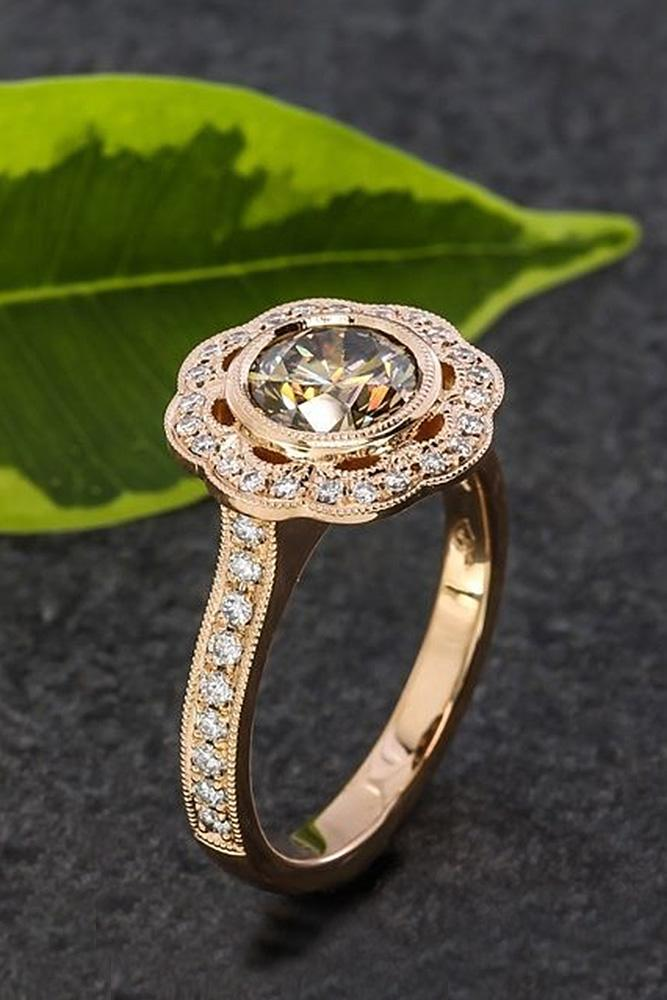 flower engagement rings floral rose gold round cut
