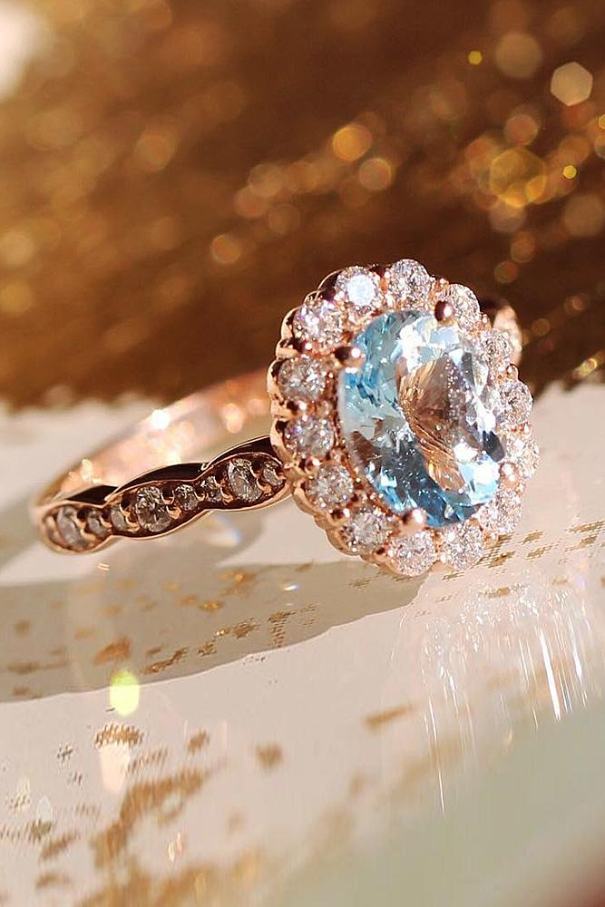 flower engagement rings halo gemstone pave band