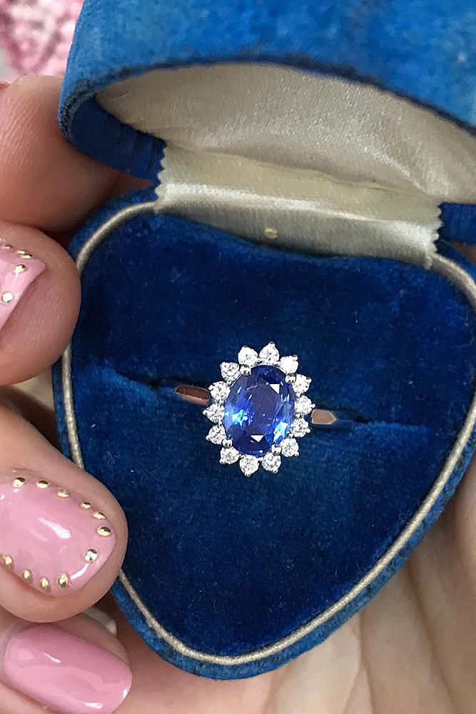 flower engagement rings halo gemstones sapphire oval