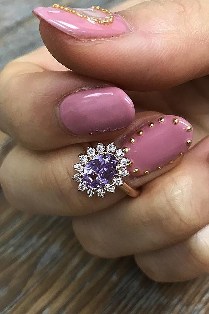 flower engagement rings oval cut halo