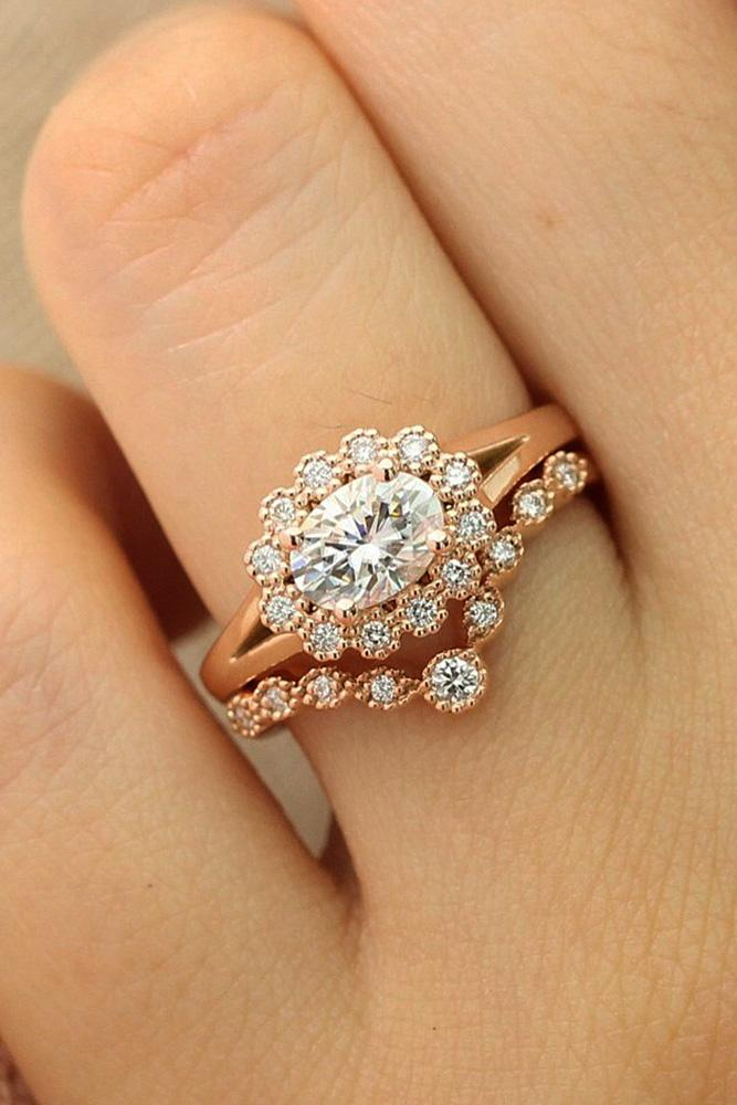 flower engagement rings oval cut wedding set halo
