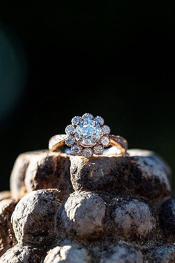 flower engagement rings rose gold halo round cut diamond