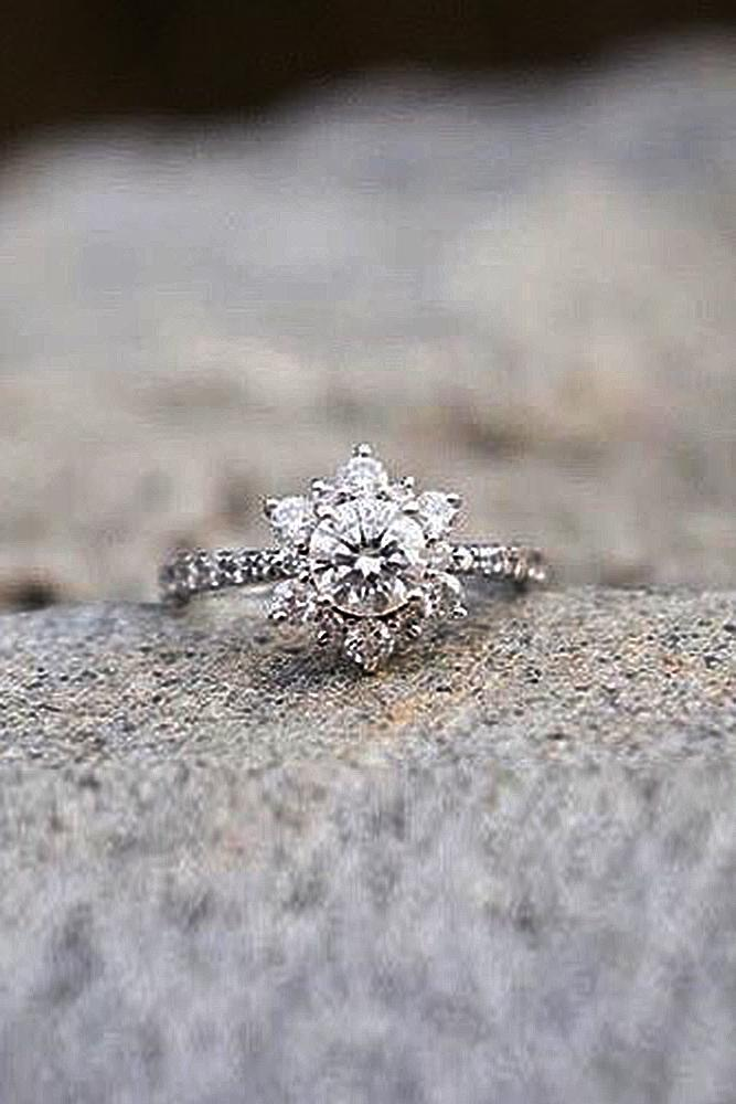 flower engagement rings round cut diamond halo white gold