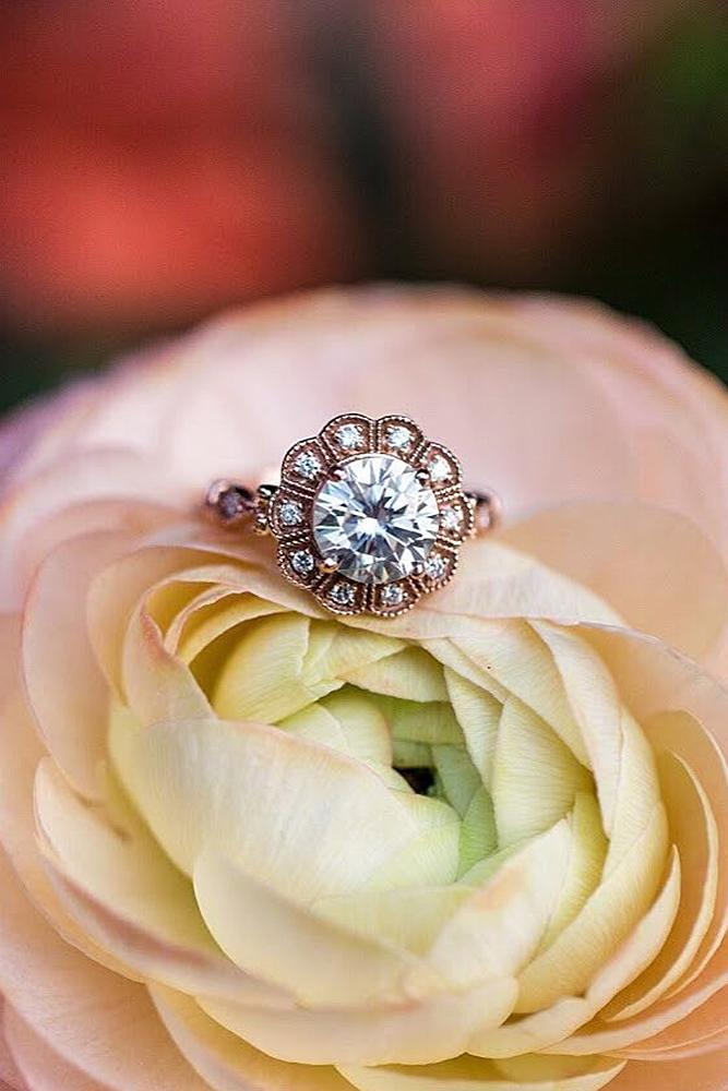 flower engagement rings round cut rose gold diamond