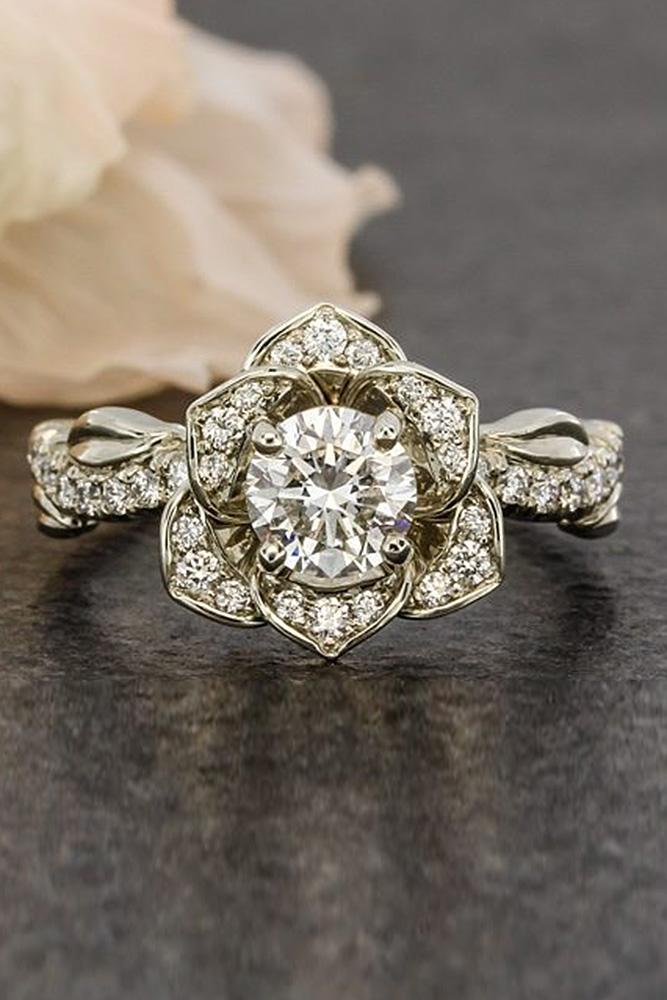 flower engagement rings round cut vintage