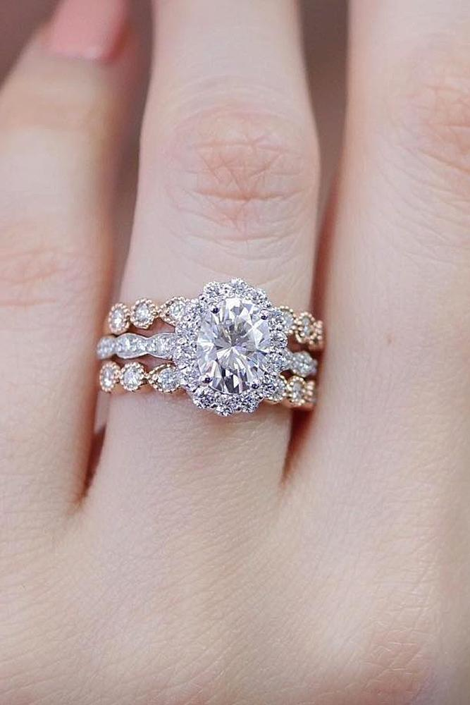 flower engagement rings set halo floral oval cut