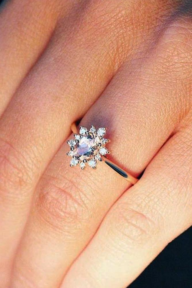 flower engagement rings simple diamond oval cut rose gold
