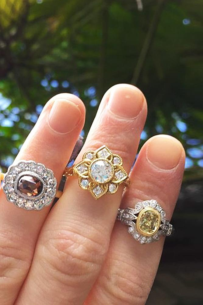flower engagement rings vintage gold floral halo