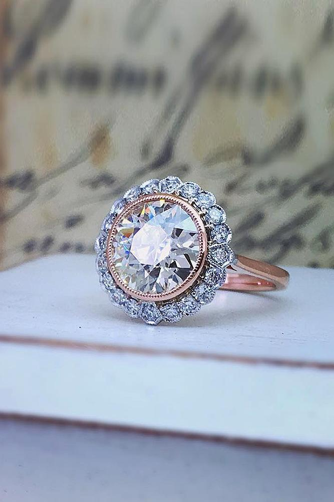 flower engagement rings vintage rose gold halo