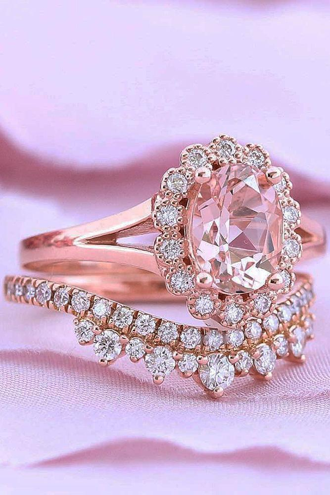 flower engagement rings wedding set rose gold