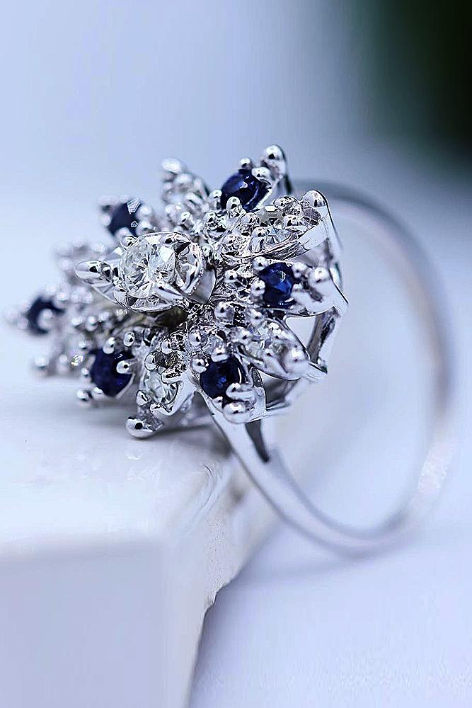 flower engagement rings white gold blue sapphires round cut diamond simple pave band