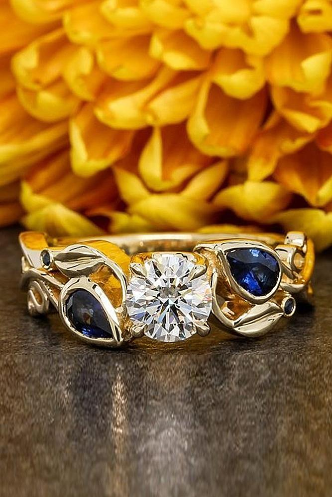 flower engagement rings white gold blue sapphires round cut diamond unique pave band